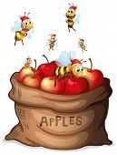 Illustration of a sack of apple with bees on a white background