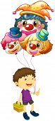 Illustration of a boy carrying three clown balloons on a white background