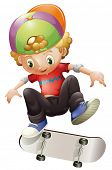 Illustration of a young man skateboarding on a white background