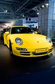 Moscow, Russia - August 27: Yellow Sport Car Parsche Carrera At Moscow International Exhibition Inte