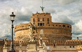 Statues On The Bridge Of Castel Sant'angelo In Rome, Italy