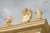 Coat Of Arms And Statues In The Vatican. Rome, Italy