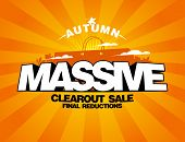 Massive autumn sale design with shopping bag on a rays backdrop.