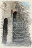 art watercolor background on paper texture with european antique town, Pompeii. Ruins of stairs