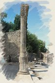 art watercolor background on paper texture with european antique town, Pompeii. Patio ruins