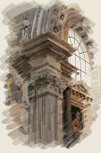art watercolor background on paper texture with european antique town, Italy, Rome. Detail of classi