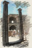 art watercolor background on paper texture with european antique town, Pompeii.