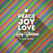 Christmas greeting with long shadow on a striped multicolored background - vector illustration