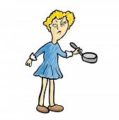 Dissatisfied woman with a frying pan, vector illustration.