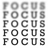 stock photo of cataract  - The word focus in 5 different variations of blurriness and sharpness isolated over white - JPG