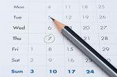 Gray Pencil On A Open Calendar Business Agenda