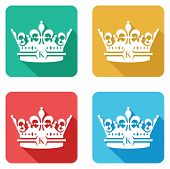 four colourful crown flat icons