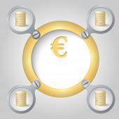 Golden Circular Frame For Text And Euro Symbol