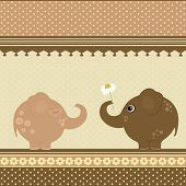 Birthday Greeting Card With Two Elephants
