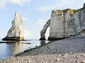 View Of Cliffs With Arch On English Channel Beach