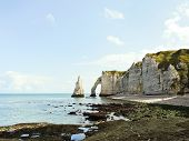 Panorama With Cliffs On English Channel Beach