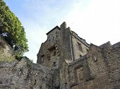 pic of mont saint michel  - stone buildings in courtyard of mont saint - JPG
