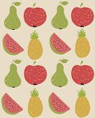 Doodle Fruit Pattern In Retro Colors