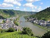 stock photo of moselle  - view of Moselle river and Cochem town in Germany - JPG