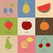 Doodle Fruit Icons In Retro Colors