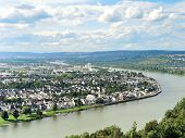 foto of moselle  - view of Koblenz city at the confluence of Moselle and Rhine rivers Germany - JPG