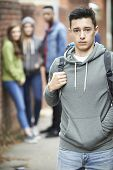 Teenage Boy Feeling Intimidated As He Walks Home