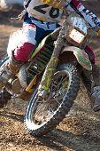 stock photo of motocross  - Closeup of a motocross bike in a championship - JPG