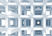 3D Abstract Digital Background, Blue Braced Construction