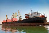Big Industrial Cargo Ship Loading In Burgas Port