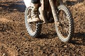 pic of motocross  - Closeup of a motocross bike in a championship - JPG