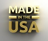 Made In The Usa - Gold 3D Quality Render On The Wall Background With Soft Shadow.