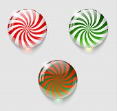 Three Christmas Glossy Buttons