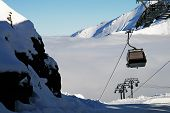 The Funicular Arrives At The Top Of The Snowy Hill
