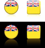 Niue Flag Buttons On White And Black Background