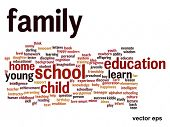 Vector eps concept or conceptual family education abstract word cloud on white background
