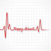 Illustration of diwali greeting background with heartbeat