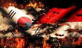 South Korea Indonesia Flag War Torn Fire International Conflict 3D