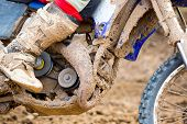 stock photo of motocross  - Closeup of a motocross bike in a championship - JPG