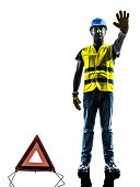 one signals safety warning triangle man stop gesture with safety vest silhouette isolated in white b