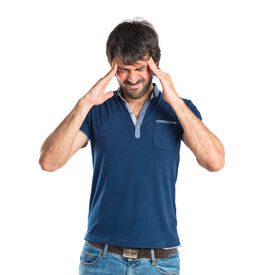 stock photo of pissed off  - frustrated and pissed off man over isolated white background - JPG