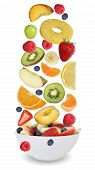 picture of fruit bowl  - Fruit salad with fruits like apples oranges kiwi peach banana and strawberry in bowl - JPG
