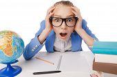 Shocked overwhelmed student wearing glasses