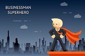 Businessman superhero over night city