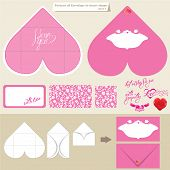 Template And Scheme Of Envelope In Heart Shape. Pink Background With Frame And Calligraphic Text I L