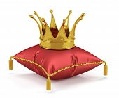 stock photo of crown jewels  - 3d render of golden king crown on the red pillow - JPG