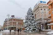 Zagreb main square snow