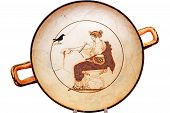 foto of greeks  - Ancient Greek plate on white in Delphi - JPG