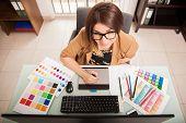 Постер, плакат: Cute Freelance Designer At Work