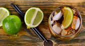 Cuba Libre Drink  On A Wooden Table