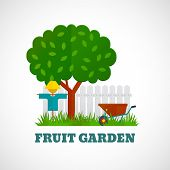 stock photo of scarecrow  - Fruit garden poster with tree scarecrow wheelbarrow on the lawn and fence vector illustration - JPG